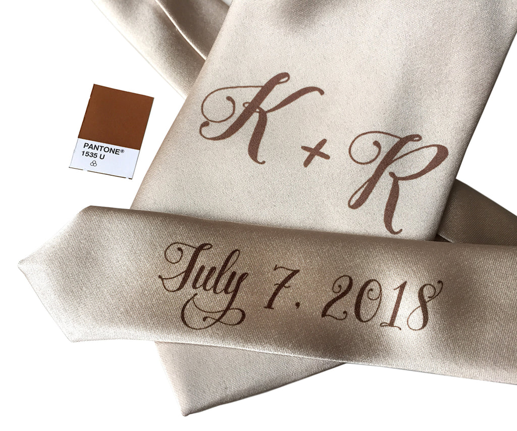 custom sublimated initial monogram wedding necktie, dark brown on champagne, Cyberoptix