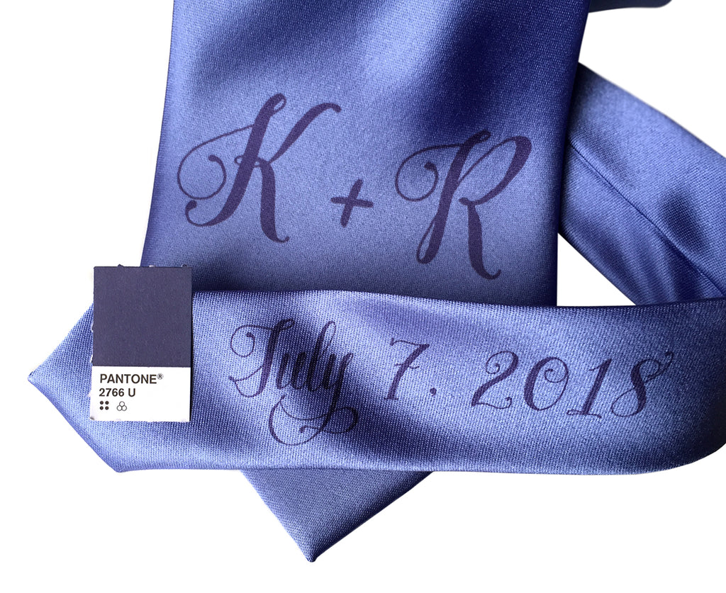 custom sublimated  initial monogram wedding necktie, navy blue on periwinkle, Cyberoptix
