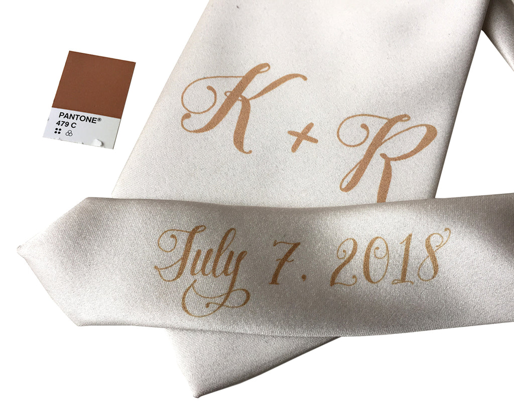 custom sublimated initial monogram wedding necktie, tan on platinum, Cyberoptix