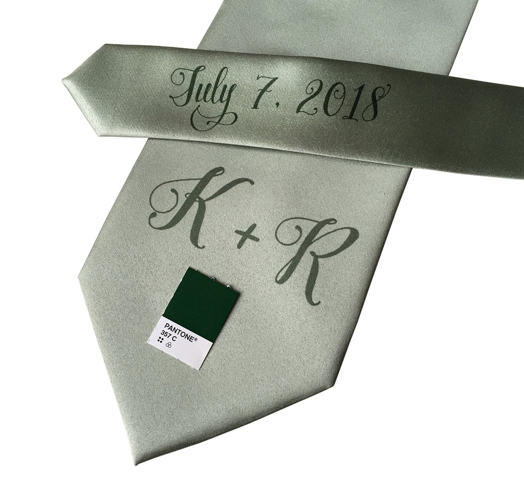 custom sublimated  initial monogram wedding necktie, hunter green on sea foam, Cyberoptix