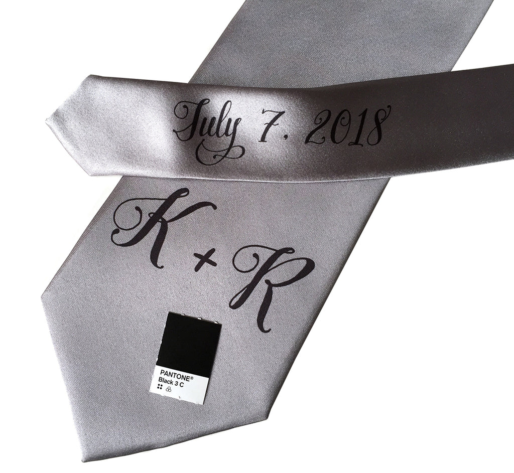 custom sublimated  initial monogram wedding necktie, black on silver, Cyberoptix