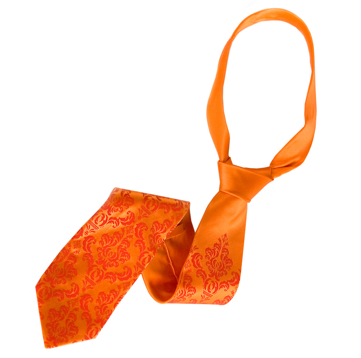 Orange Damask Wedding Necktie
