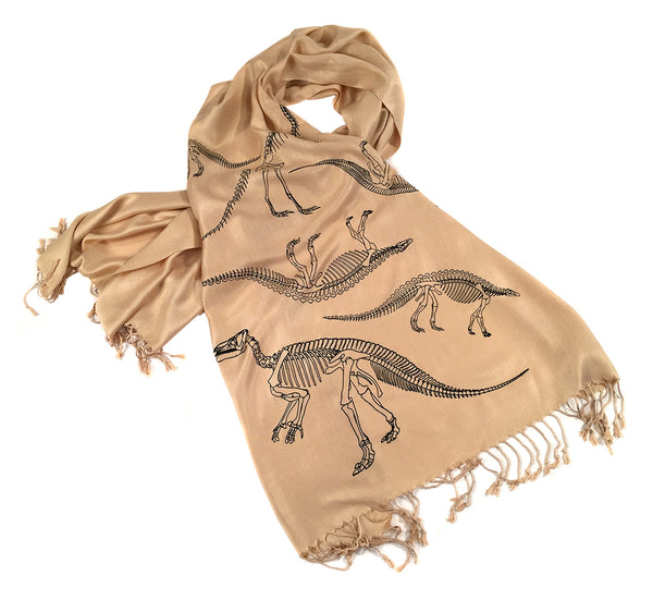 Dinosaur pashmina: black on sand