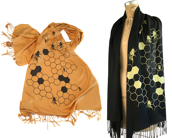 Honey Bee pashmina scarves