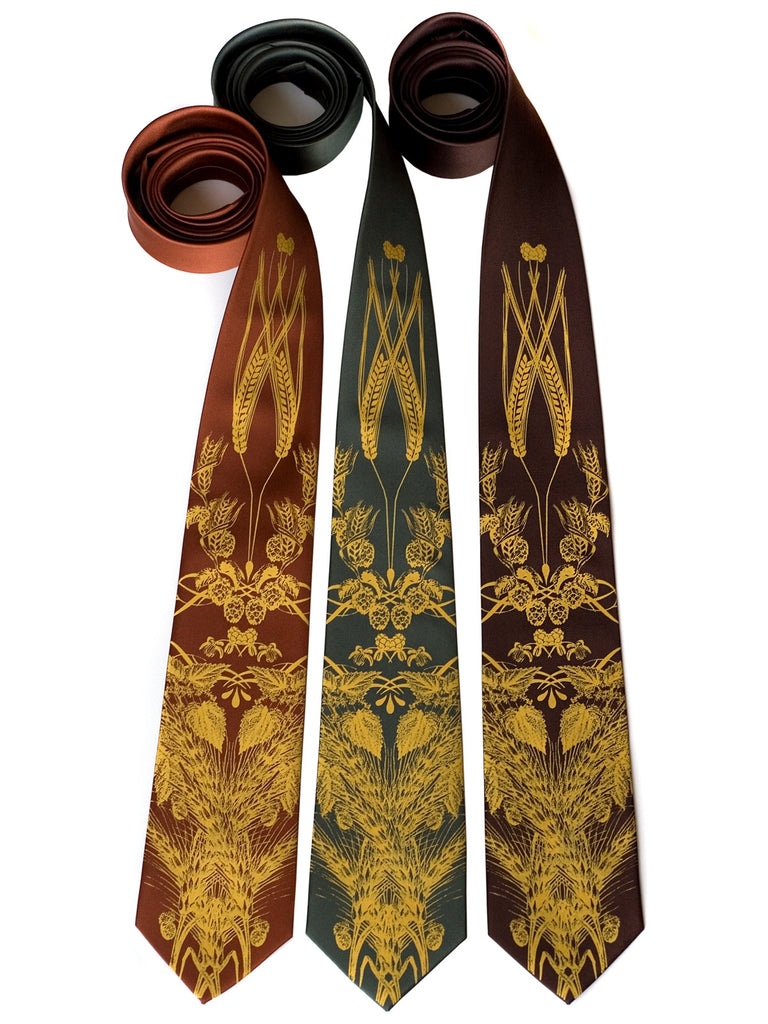 hops and wheat neckties for groomsmen