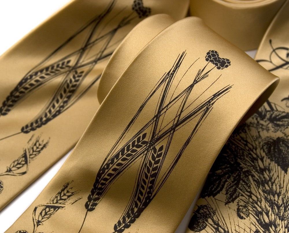 honey gold hops and wheat wedding neckties