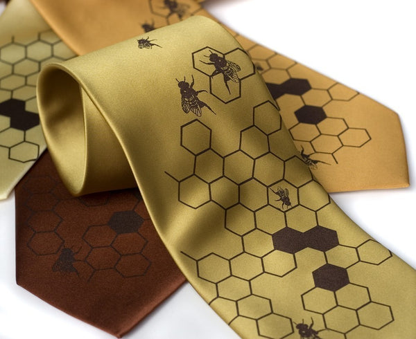 Honey Bee silk necktie
