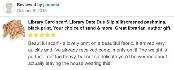 Library Date Due Card Scarf reviews