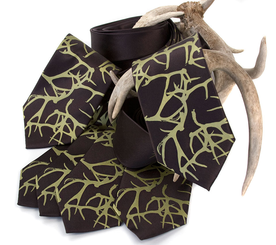 Antler print wedding neckties, texas wedding, cyberoptix