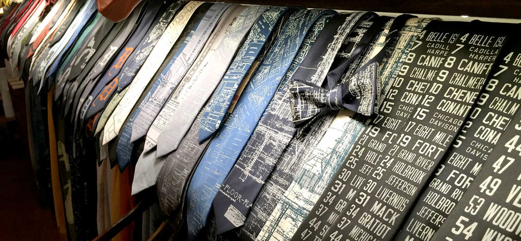 Ties on display, cyberoptix detroit store