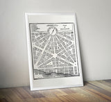 Detroit Historic Map Print Poster, 1831, Cyberoptix