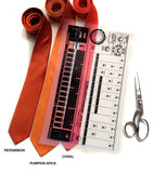 Cyberoptix 808 drum machine ties in process. Transparency overlaying orange neckties.