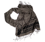 808 scarf: black on charcoal