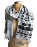 Roland TR-909 Drum Machine Print Scarf, Technical Drawing Linen-Weave Pashmina, by Cyberoptix