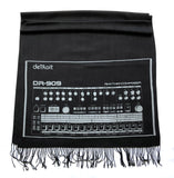 909 Drum Sequencer Linen-Weave Scarf, Pale Grey on Black Pashmina, by Cyberoptix