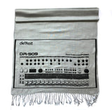 909 Drum Sequencer Linen-Weave Scarf, Black on Silver Pashmina, by Cyberoptix