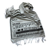 TR-909 Drum Machine Scarf, Detroit Techno Linen-Weave Pashmina, by Cyberoptix