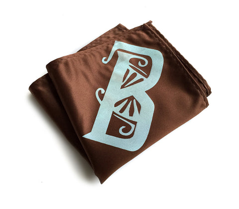 Initial Pocket Square. Personalized Art Deco Font Hanky