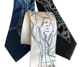 Belle Isle Neckties, Detroit Map Print Ties. Cyberoptix