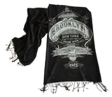 Brooklyn Scarf. New York City pashmina. Black and silver. Cyberoptix
