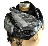 Brooklyn Font Scarf. Nyc pashmina. Black and silver. Cyberoptix