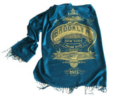 Brooklyn Print Scarf. NYC pashmina. Teal blue and gold. Cyberoptix