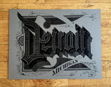 Grey Detroit Art Print Typography Poster, by Cyberoptix