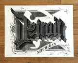 Detroit Font Art Print Poster, Roaring 20s Script, by Cyberoptix. black on cream