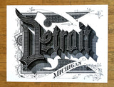 Detroit Art Print, Roaring 20s Script, by Cyberoptix. Hand screenprinted