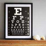 Eye Chart Art Print Poster, by Cyberoptix