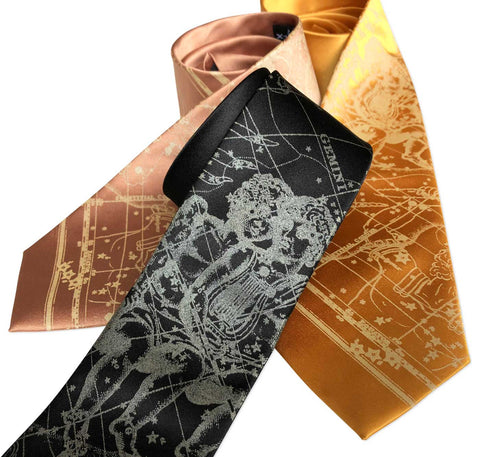 Gemini Necktie, The Twins. Zodiac Constellation Star Chart Tie