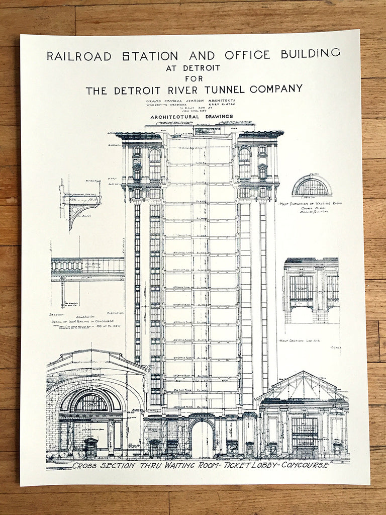 Blueprint art print detroit train station by cyberoptix mcs train station blueprint by cyberoptix silkscreen wall art print malvernweather Image collections