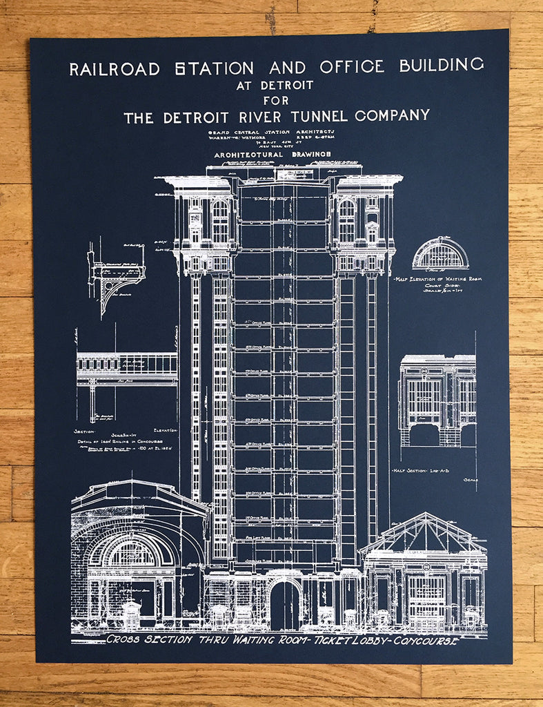 Blueprint art print detroit train station by cyberoptix navy blue detroit train station blueprint by cyberoptix malvernweather Image collections