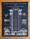 Navy blue Detroit Train Station Blueprint, by Cyberoptix