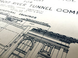Hand pulled Train Station Blueprint art print, by Cyberoptix.