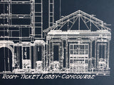 Detroit Train Station Blueprint, by Cyberoptix. Navy blue art print