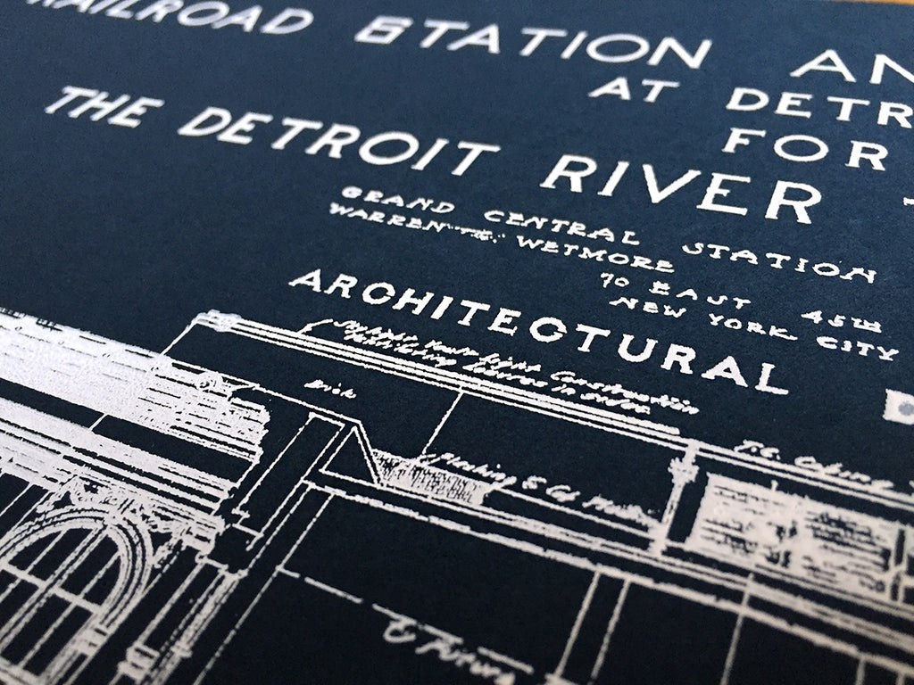 Blueprint art print detroit train station by cyberoptix mcs station blueprint by cyberoptix navy blue art print malvernweather Image collections