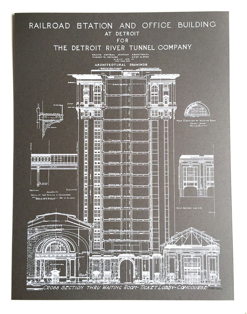 Blueprint art print detroit train station by cyberoptix grey detroit train station blueprint poster by cyberoptix malvernweather Image collections