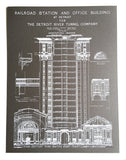 Grey Detroit Train Station Blueprint Poster, by Cyberoptix