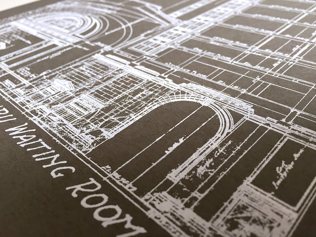 Blueprint art print detroit train station by cyberoptix silkscreened detroit train station blueprint poster print in grey by cyberoptix malvernweather Image collections