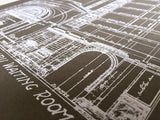 Silkscreened Detroit Train Station Blueprint Poster Print in grey, by Cyberoptix
