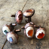 Fire Opal Cufflinks, electroformed gemstone cuff links