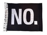 """No."" Printed Pashmina. White on black, by Cyberoptix"