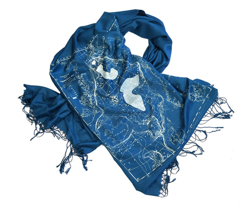Scandinavian Waters Bamboo Scarf, Bathymetric Chart Contour Map Pashmina
