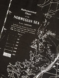 Contour Map Print Scarf, Norwegian Sea Bathymetric Chart, black, by Cyberoptix