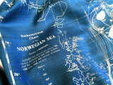 Teal blue Contour Map Print Scarf, Norwegian Sea Bathymetric Chart, by Cyberoptix