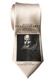 Champagne Shakespeare Necktie, First Folio Print Tie by Cyberoptix