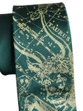 Taurus Necktie, Emerald Green. Zodiac Constellation Star Chart Tie by Cyberoptix