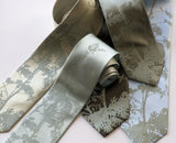 Absinthe Neckties: Sage on celery, seafoam, dark brown, olive, sky blue.