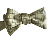 Celery green Accountant Bow Tie, Ledger Paper Print bowtie, by Cyberoptix